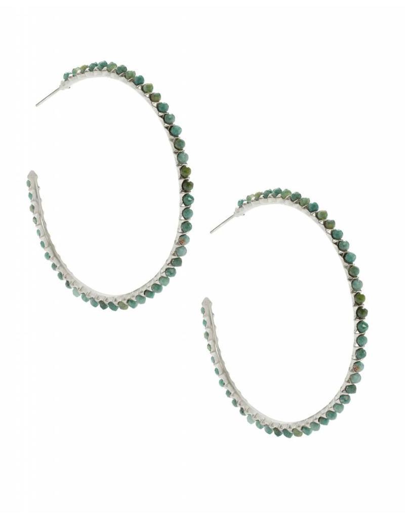 Kendra Scott Birdie Earring Silver African Turquoise
