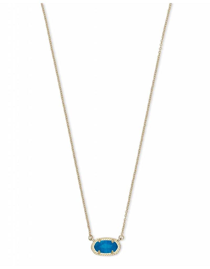 Kendra Scott Ember Necklace in Gold Teal Unbanded Agate