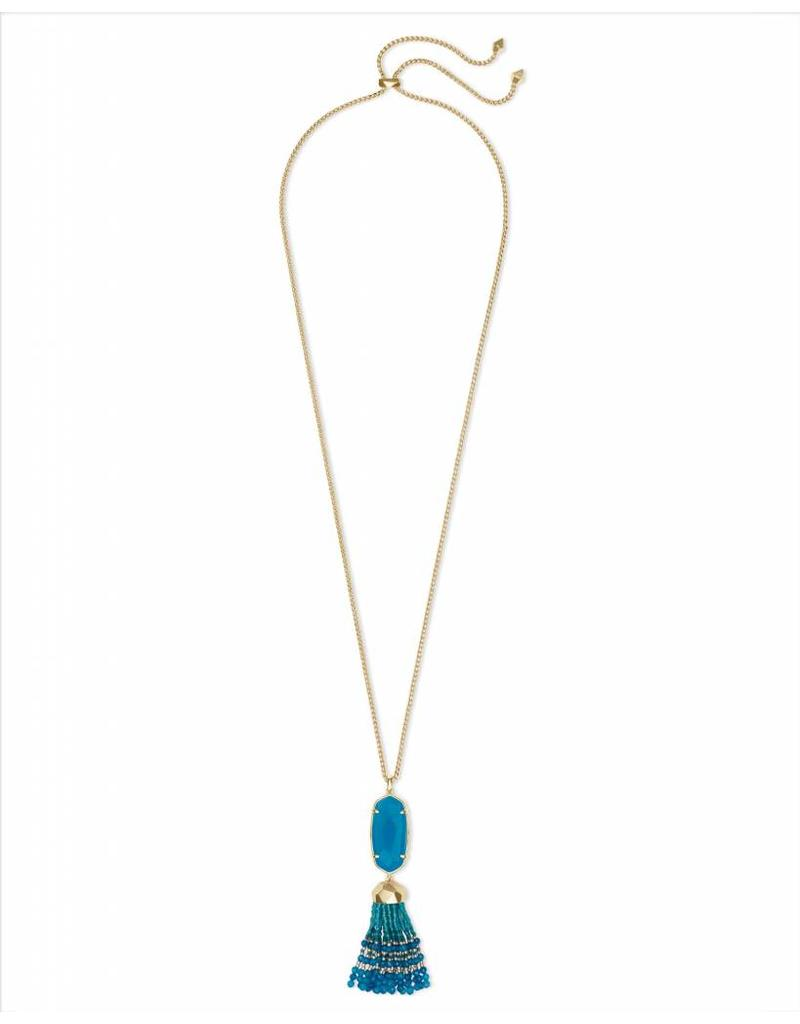 Kendra Scott Eva Necklace in Gold Teal Unbanded Agate