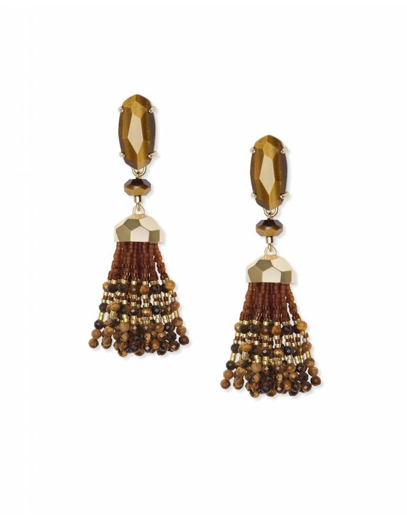 Kendra Scott Dove Earrings in Gold Brown Tiger's Eye