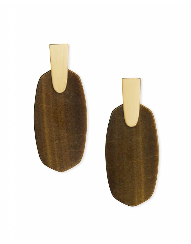 Kendra Scott Aragon Earrings in Gold Brown Tiger's Eye