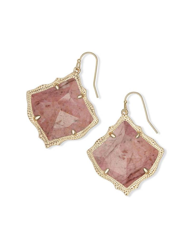 Kendra Scott Kirsten Earrings in Gold Pink Rhodonite