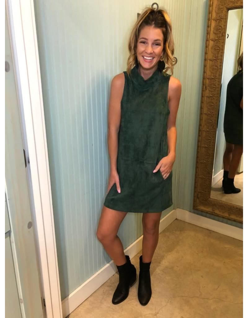 Huntergreen Faux Suede Dress