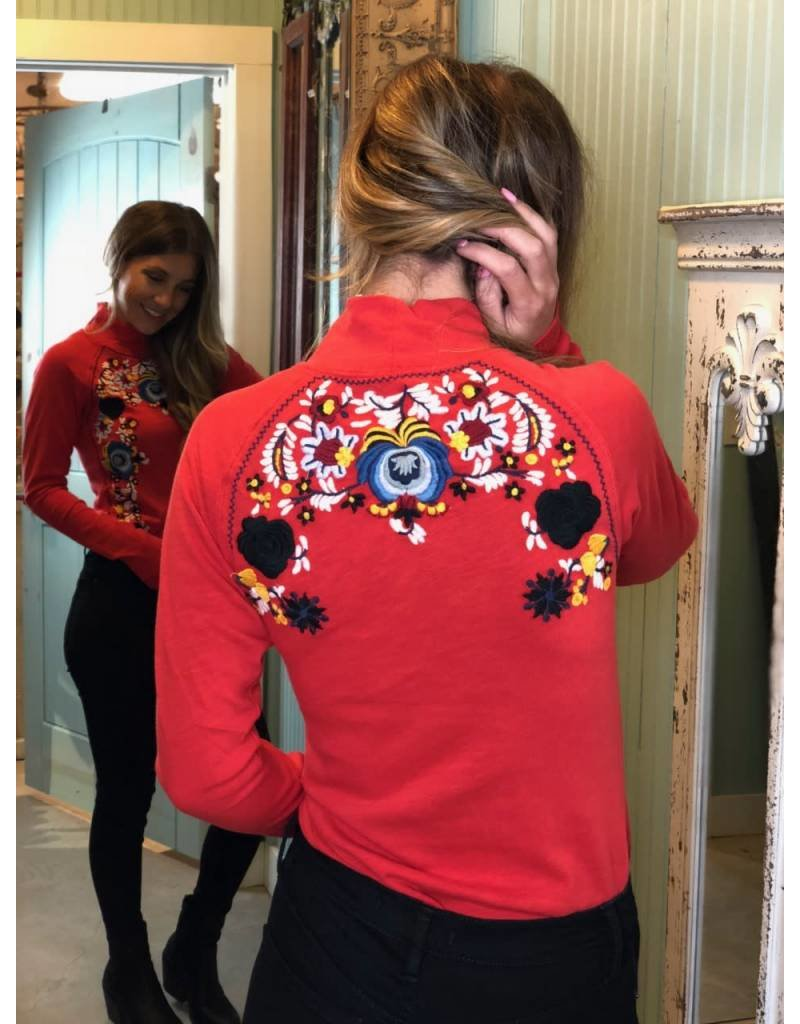 Free People Disco Rose Top- Red