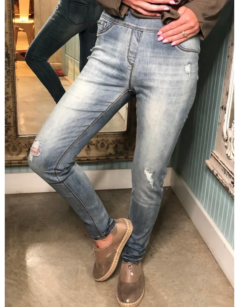 OMG Skinny Ankle Light Denim Distressed Jeans