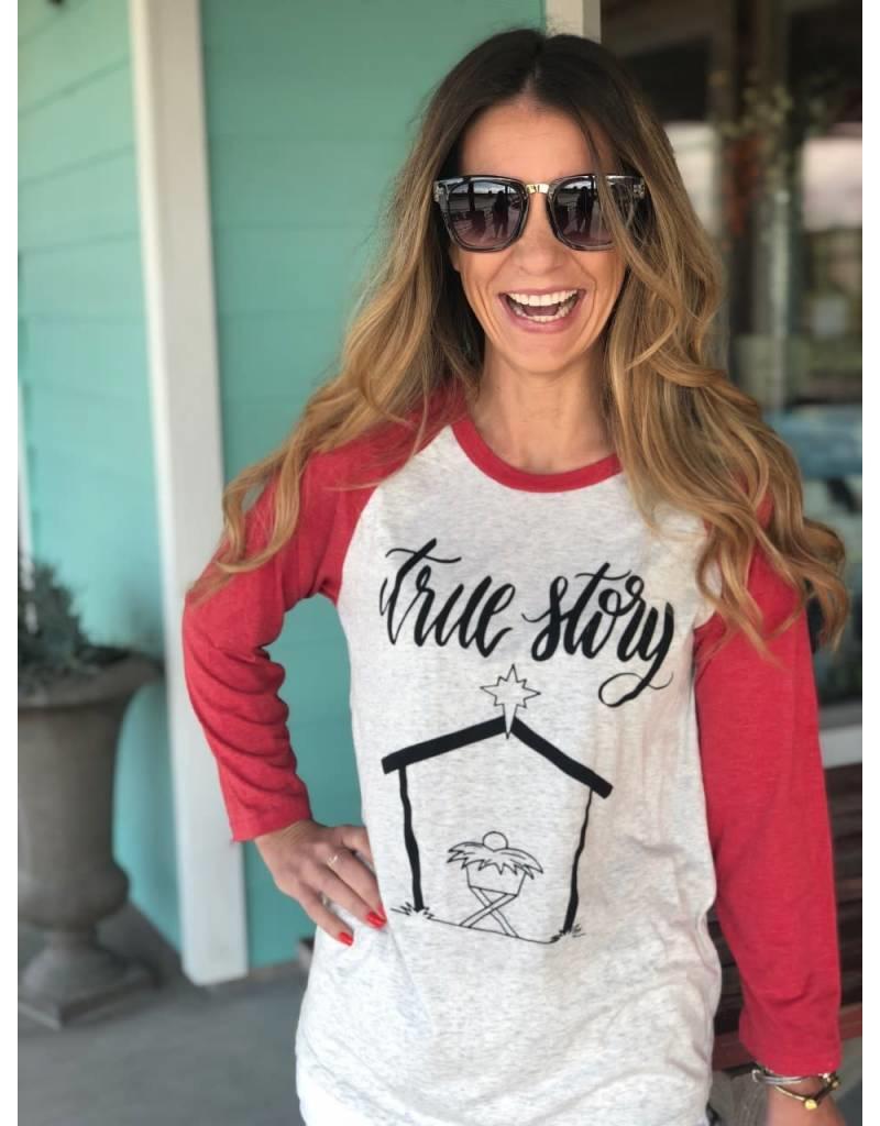 True Story Vintage T-Shirt  3/4 Sleeve