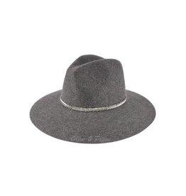 Wool Felt Hat w/ V-Pattern Beaded Trim- Grey