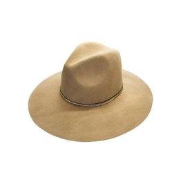 Wool Felt Hat w/ V-Pattern Beaded Trim- Pecan