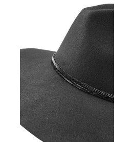 Wool Felt Hat w/ V-Pattern Beaded Trim- Black
