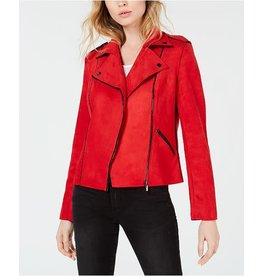 Kut Red Suede Jacket with Moto Detail