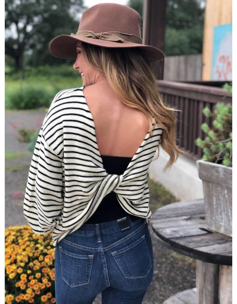 Striped Color Block Twist Back Sweater