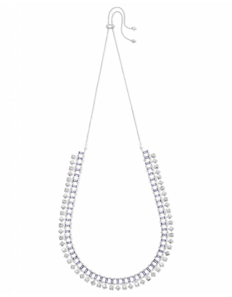 Kendra Scott Oscar Necklace in Lilac Crystal on Silver