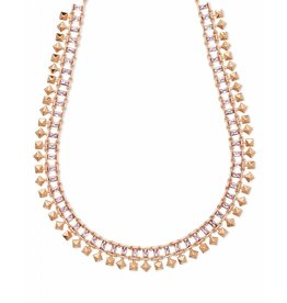 Kendra Scott Oscar Necklace in Blush Crystal on Rose Gold