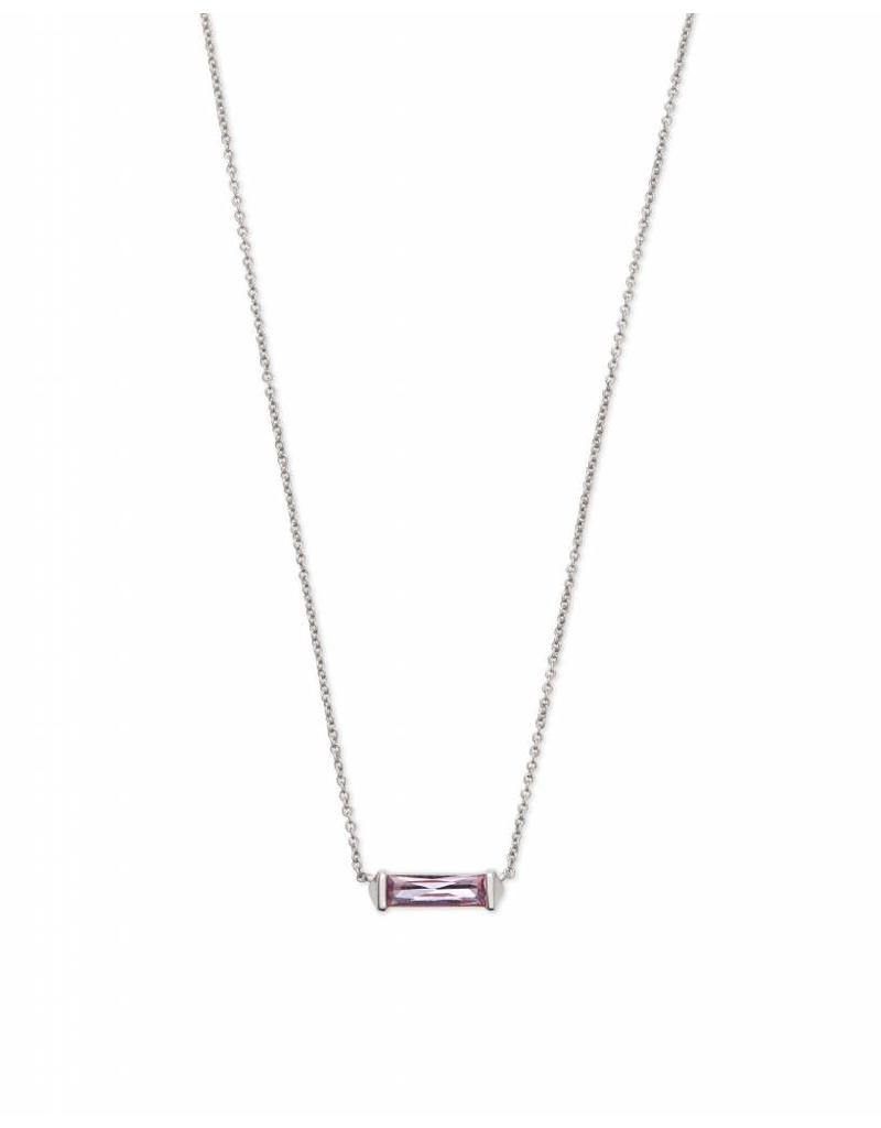 Kendra Scott Rufus Necklace in Lilac Crystal on Silver