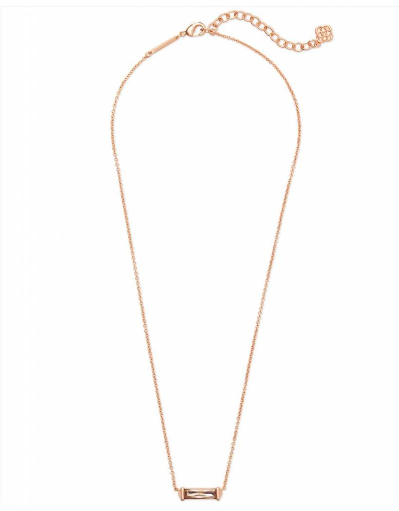 Kendra Scott Rufus Necklace in Blush Crystal on Rose Gold