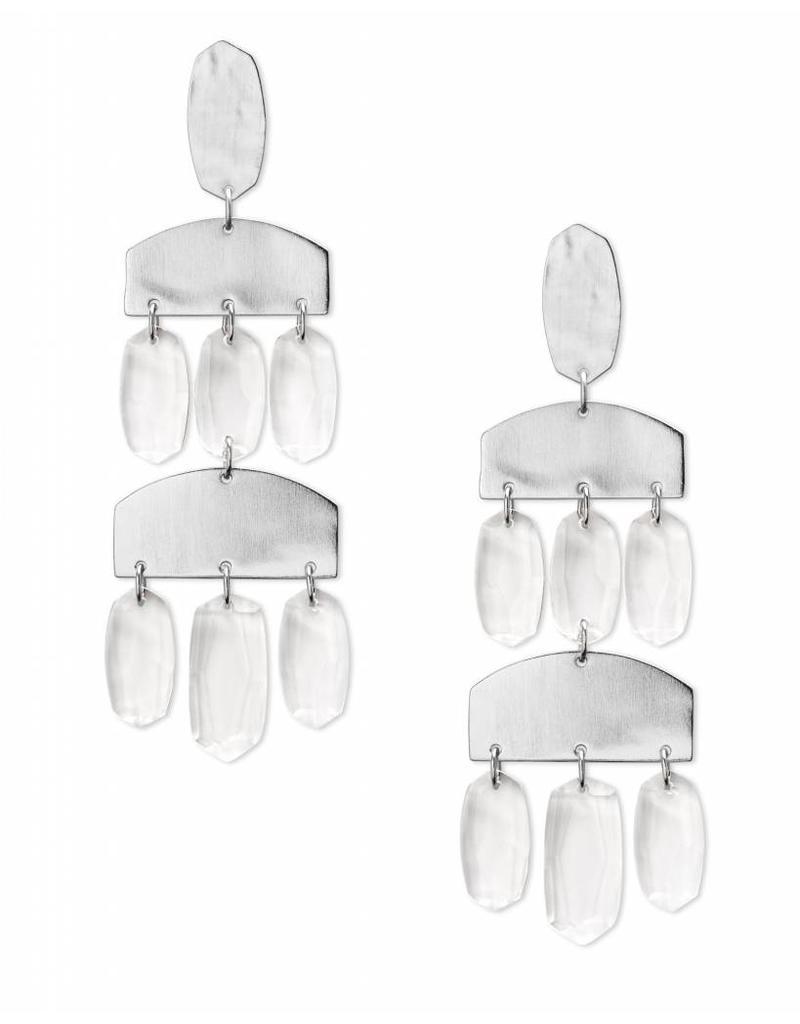 Kendra Scott Emmet Earrings in Clear Glass on Silver