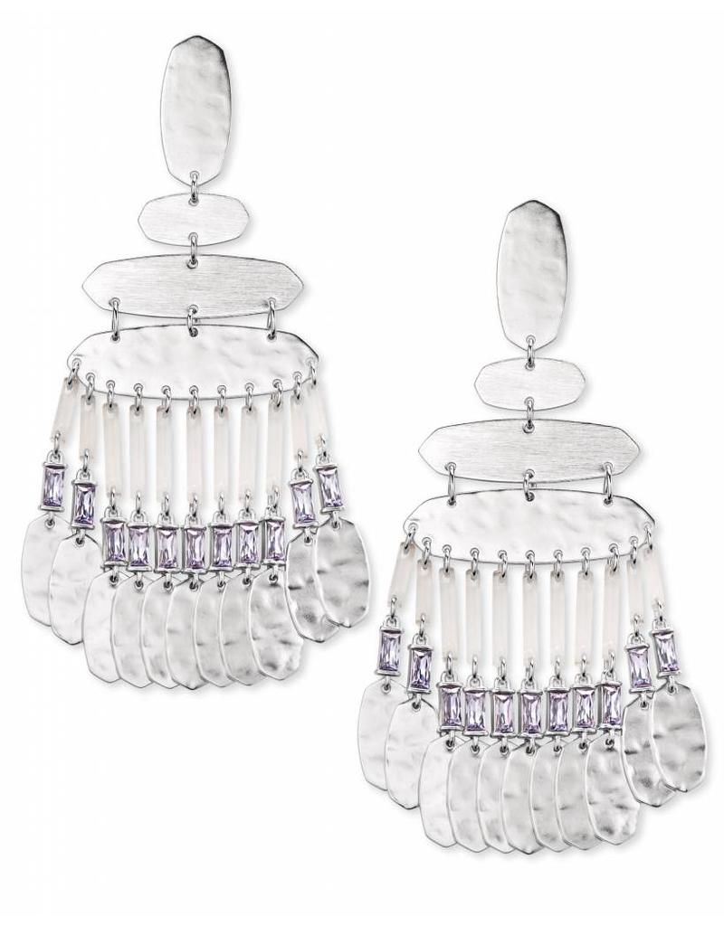 Kendra Scott Nicola Earrings in Lilac Crystal on Silver