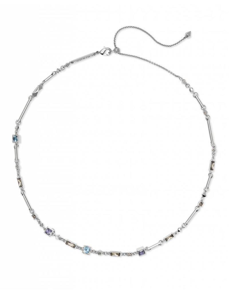 Kendra Scott Rhett Necklace Silver Lilac Mix