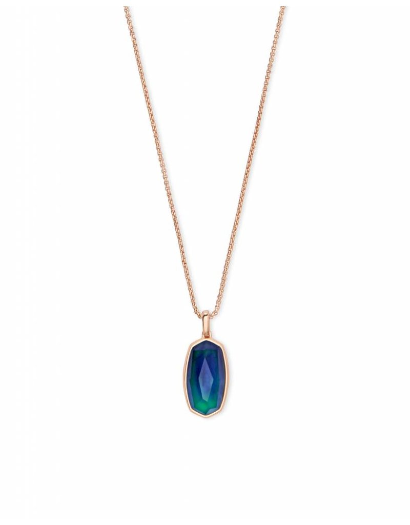 Kendra Scott Moody Necklace in Mood Stone on Rose Gold