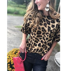 Brown Leopard Top with Sleeve Detail
