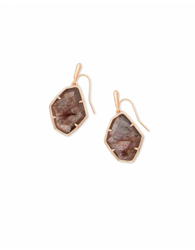 Kendra Scott Dax Earring in Sable Mica on Rose Gold