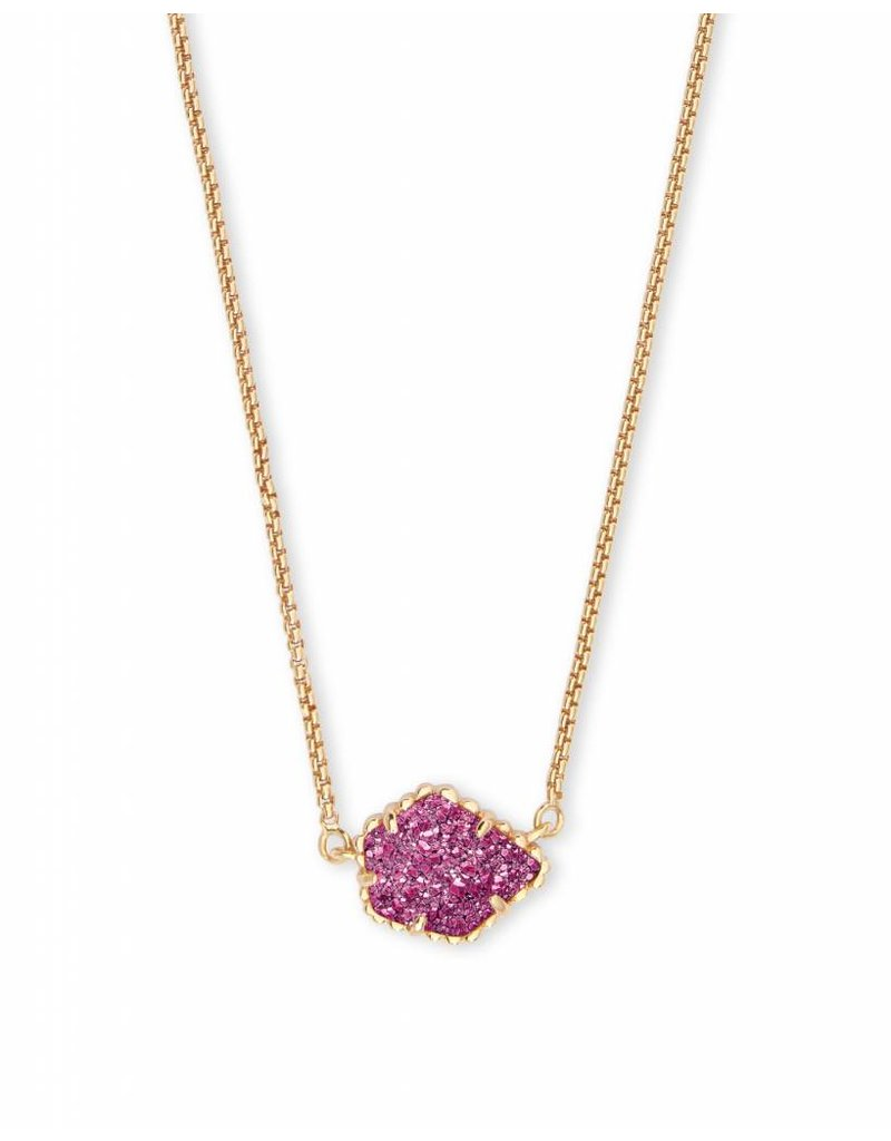 Kendra Scott Tess Necklace in Gold Fuchsia Drusy
