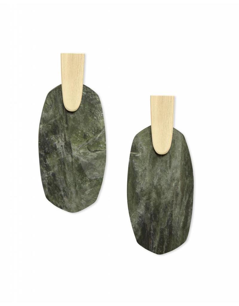 Kendra Scott Aragon Earrings in Sage Mica on Gold