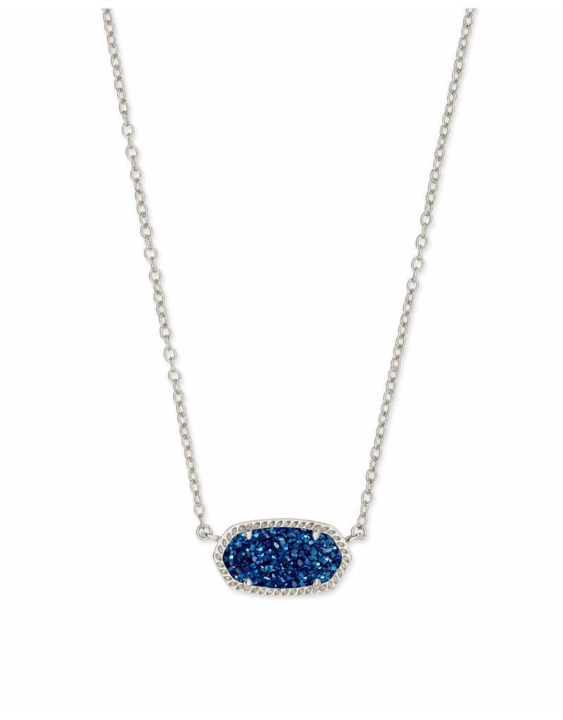 Kendra Scott Elisa Necklace Blue Drusy on Silver