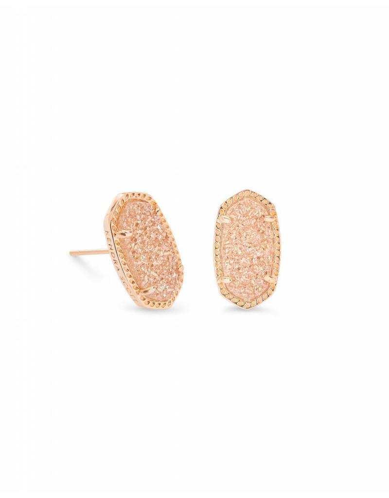 Kendra Scott Ellie Earrings Sand Drusy On Rose Gold