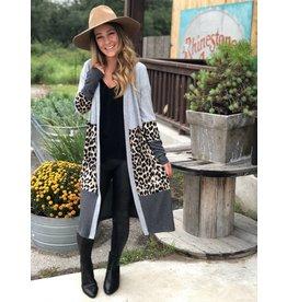 Leopard Color Block Cardigan in Heather Grey