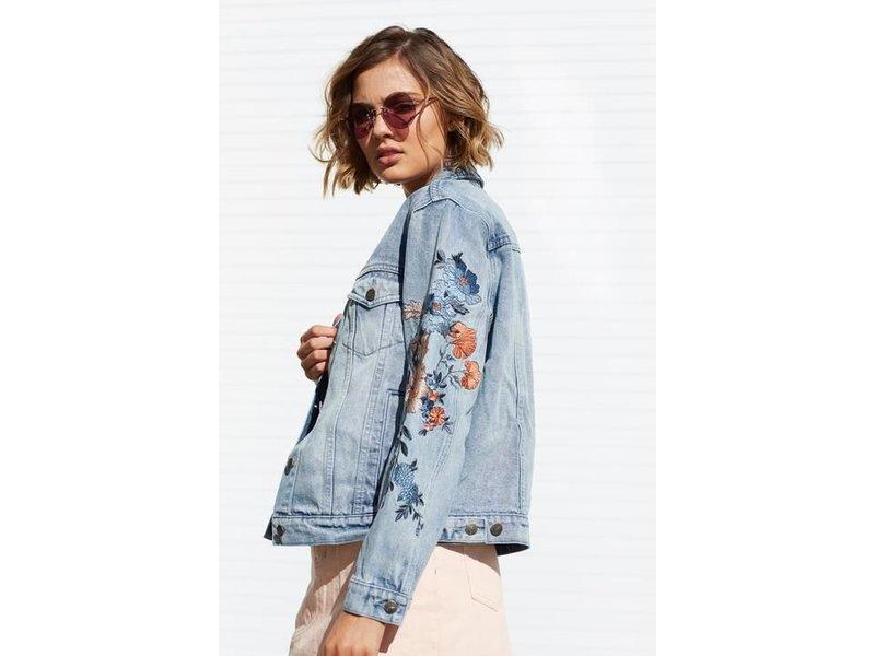 MINK PINK Wild flower denim jacket