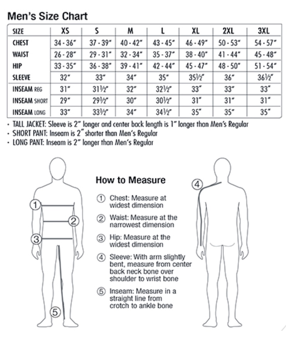 Male Static Stretching Chart: Obermeyer Foundation Jacket