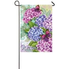 Beautiful Hydrangeas Garden Sub Suede Flag