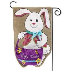 Easter Bunny & Basket Garden Burlap Flag