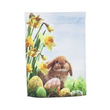 Easter Chicks and Bunny Garden Suede Flag