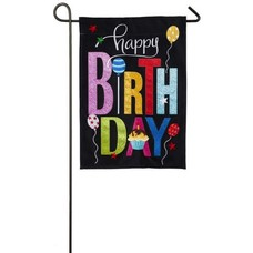 Happy Birthday Cupcake Garden Burlap Flag