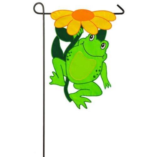 Happy Frog Garden Applique Flag