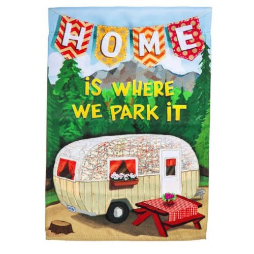 Home is Where We Park It Garden Suede Flag