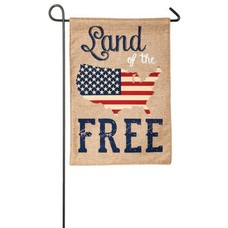 Land of the Free Garden Burlap Flag