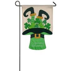 Leprechauns Welcome Garden Applique Flag