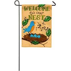 Songbird on a Nest Garden Burlap Flag