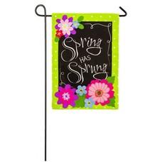 Spring has Sprung Garden Burlap Flag