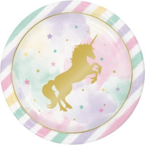 "*Unicorn Sparkle 9"" Plates 8ct"