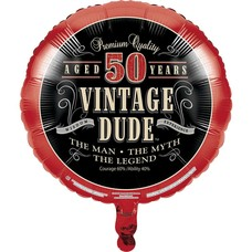 *Vintage Dude 50 Birthday Mylar Balloon