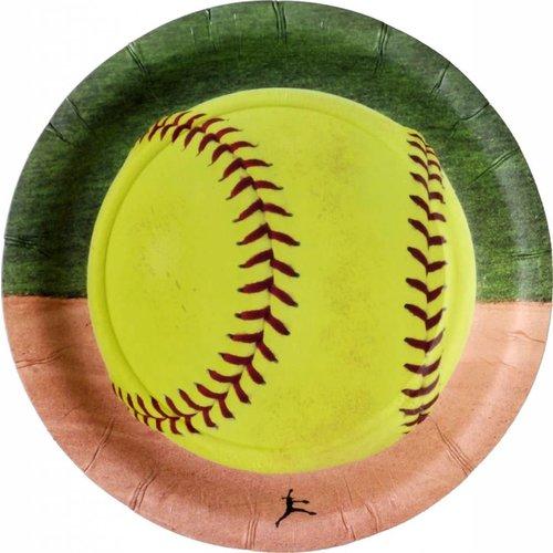 "*Softball 7"" Dessert Plate 8ct"