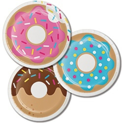 "*Donut Time Dessert 7"" Plates in 3 color assortment"