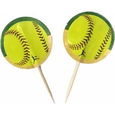 Softball Cupcake Picks