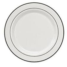 "*White Silver Trim 10"" Plates 40ct"