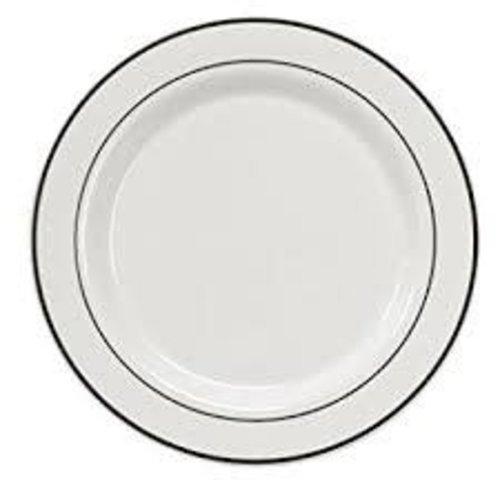 "**White w/Silver Rim 10.25"" Banquet Plates 40ct"