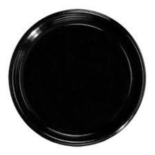 "**Black 16"" Round Flat Tray"